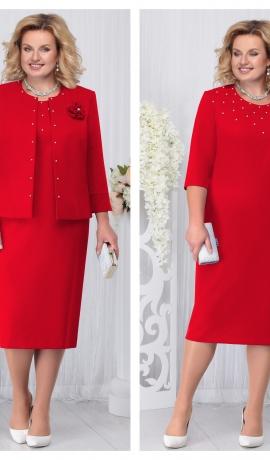 LIA3309 Sarkana kleita ar žaketi