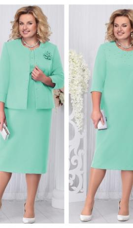 LIA3311 Gaiši zaļa kleita ar žaketi