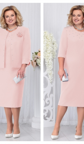 LIA3310 Pūderkrāsas kleita ar žaketi