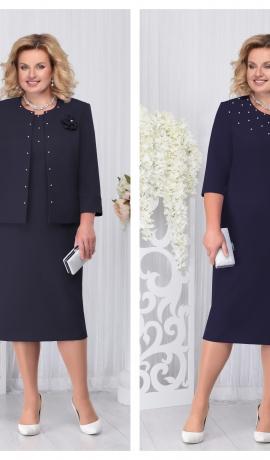 LIA3307 Tumši zila kleita ar žaketi