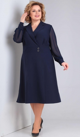 LIA6318 Zila kostīmstila kleita