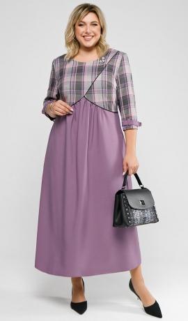 LIA7634 Rūtaina ar ceriņu krāsu kleita