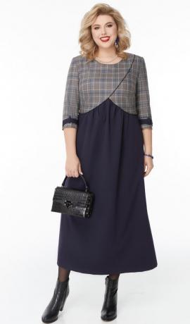 LIA7633 Rūtaina ar zilu kleita
