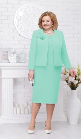 LIA2378 Gaiši zaļa kleita ar žaketi
