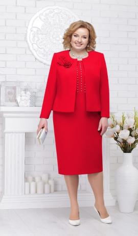 LIA2375 Sarkana kleita ar žaketi