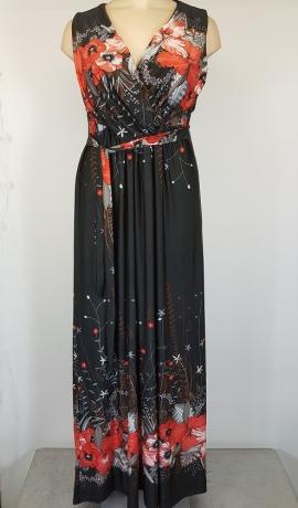 3-0578 Melna maksi kleita ar ziediem