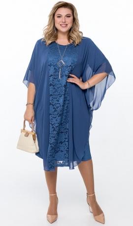 LIA6475 Zila divu slāņu kleita