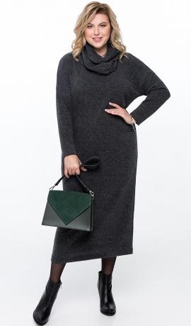 LIA6471 Tumši pelēka adīta kleita ar noņemamu šalli