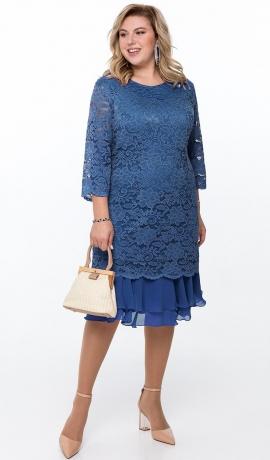 LIA6469 Divu kārtu zila kleita