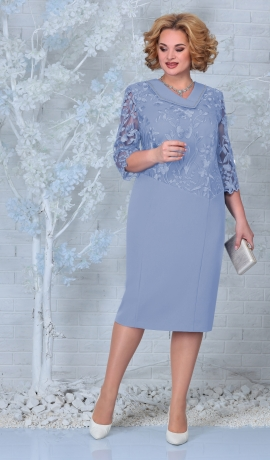 LIA7919 Zila kleita ar mežģīni