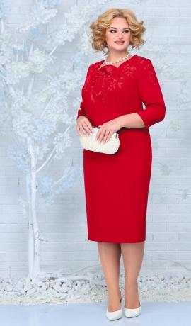 LIA7964 Sarkana kleita ar mežģīni