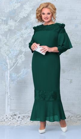 LIA7937 Smaragdzaļa  šifona kleita