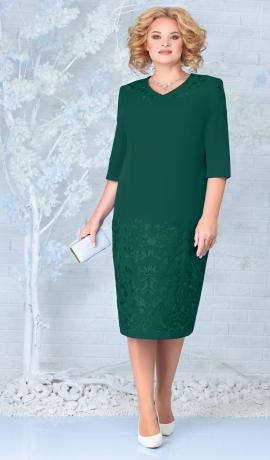 LIA7941 Smaragdzaļa kleita ar mežģīni