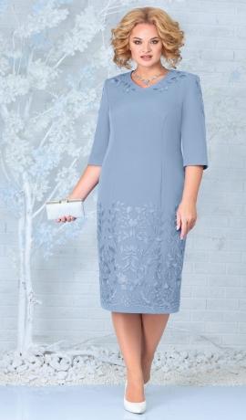LIA7940 Gaiši zila kleita ar mežģīni