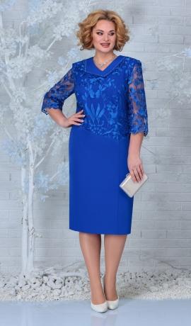 LIA7917 Zila kleita ar mežģīni