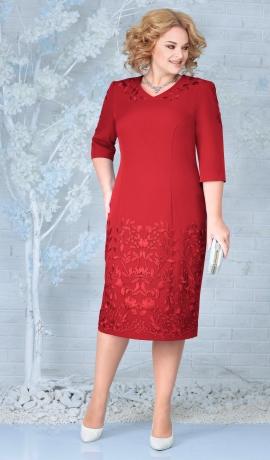 LIA7942 Sarkana kleita ar mežģīni
