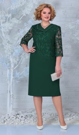 LIA7920 Smaragdzaļa kleita ar mežģīni