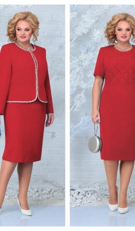 LIA7926 Sarkana kleita ar žaketi