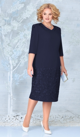 LIA7943 Tumši zila kleita ar mežģīni