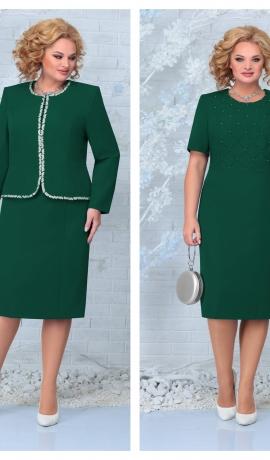 LIA7930 Smaragdzaļa kleita ar žaketi