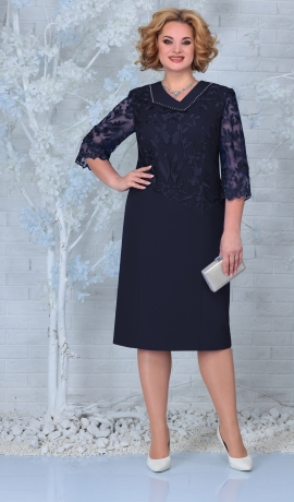 LIA7922 Tumši zila kleita ar mežģīni