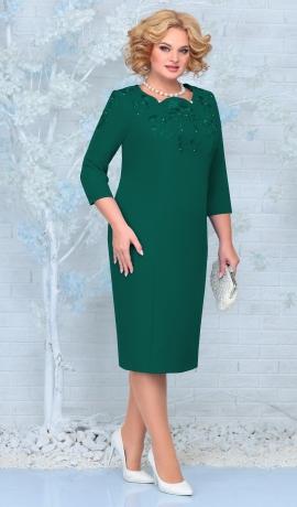 LIA7963 Smaragdzaļa kleita ar mežģīni
