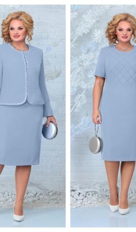 LIA7931 Zila kleita ar žaketi
