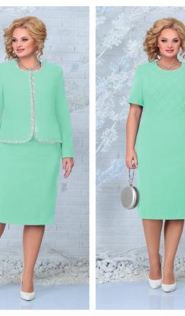 LIA7934 Gaiši zaļa kleita ar žaketi