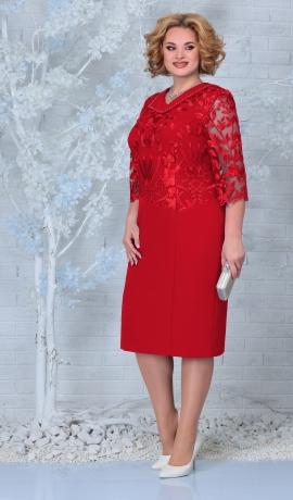 LIA7921 Sarkana kleita ar mežģīni
