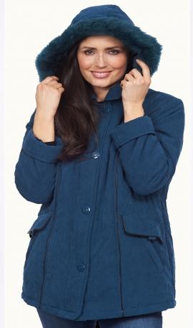 6-0354 Petrolejas krāsas polsterēta mēteļa jaka ar noņemamu kapuci