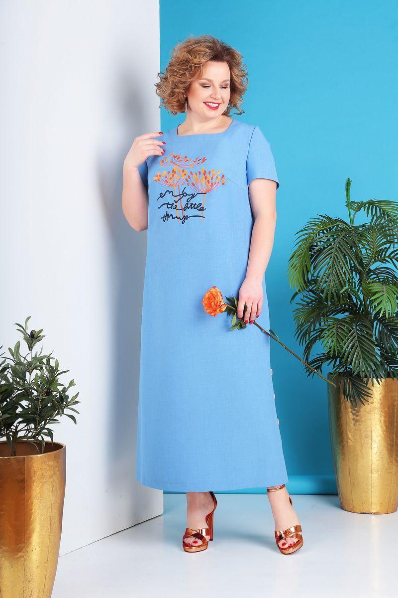 LIA5661 Gaiši zila kleita ar kabatiņām