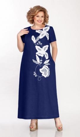 LIA5670 Zila linu kleita ar kabatām