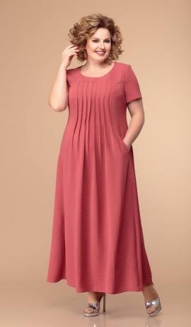 LIA5665 Koraļļu sarkanas rkrāsas kleita ar ielocēm