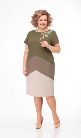 LIA5673 Trīs krāsu kleita
