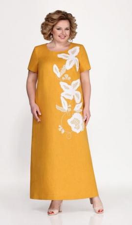 LIA5667 Dzeltena linu kleita ar kabatām