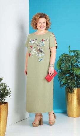 LIA5650 Gaiša kleita ar zīmējumu
