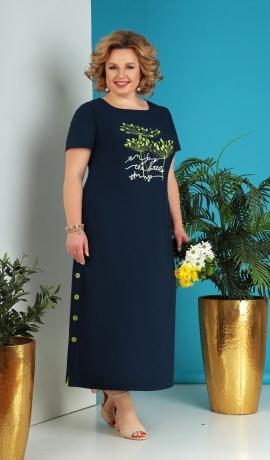 LIA5658 Tumši zila kleita ar kabatiņām