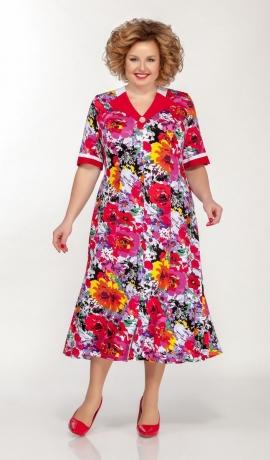 LIA5664 Sarkana kleita ar ziediem