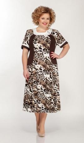 LIA5648 Brūna rakstaina kleita