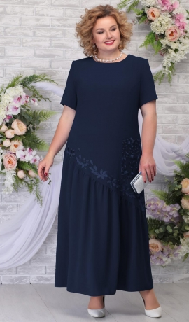 LIA5957 Tumši zila gara kleita