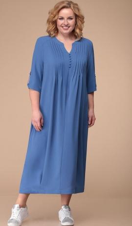 LIA3343 Zila garā kleita ar ielocēm