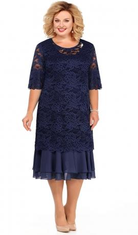 LIA3557 Divu kārtu zila kleita