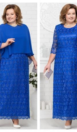 LIA2073 Zila mežģīņu kleita ar šifona apmetni