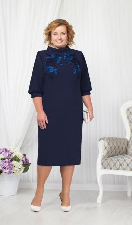 LIA1458 Tumši zila kleita ar uzšuvēm