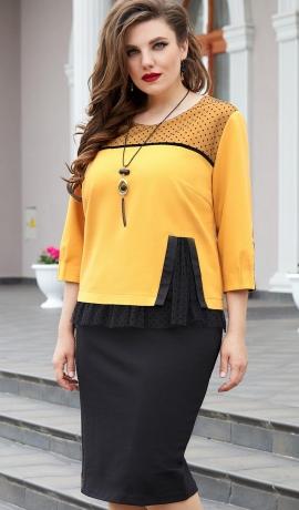 LIA7989 Dzeltena ar melnu kleita