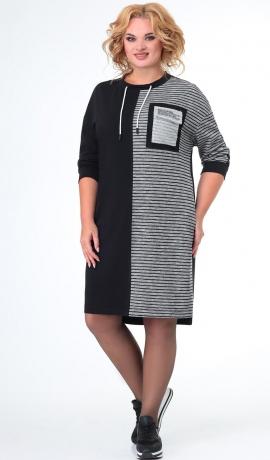 LIA7968 Melna ar pelēku kleita