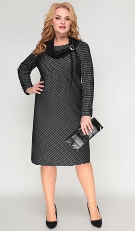 LIA7977 Melna trikotāžas kleita