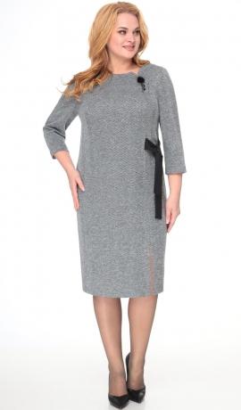 LIA7969 Pelēka trikotāžas kleita