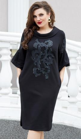 LIA7991 Melna kleita ar izšuvumu