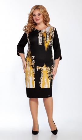 LIA7984 Melna ar dzeltenu kleita